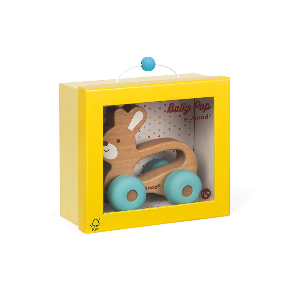 Lapin à promener Baby Pop (bois et silicone)