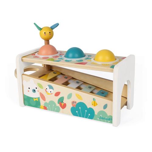 Tap Tap Xylo Pure en bois, banc à marteler, xylophone, éveil musical sonore, motricité enfant à partir de 12 mois JANOD