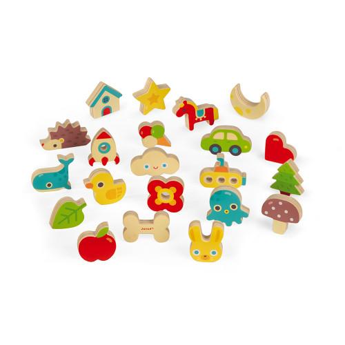 Jeu de Reconnaissance Tactile Memory Touch' en bois, mémo, éveil toucher, jeu de société, pour enfant à partir de 3 ans JANOD