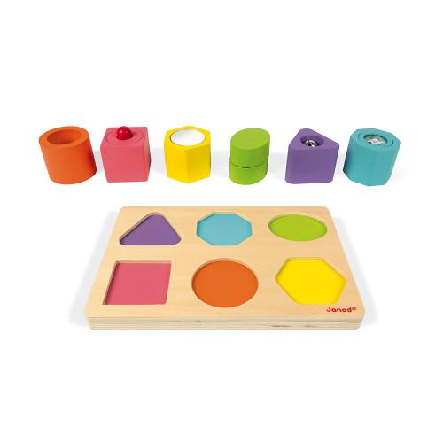 Puzzle 6 cubes sensoriels en bois, motricité éveil toucher, multicolore, pour enfant à partir de 12 mois JANOD