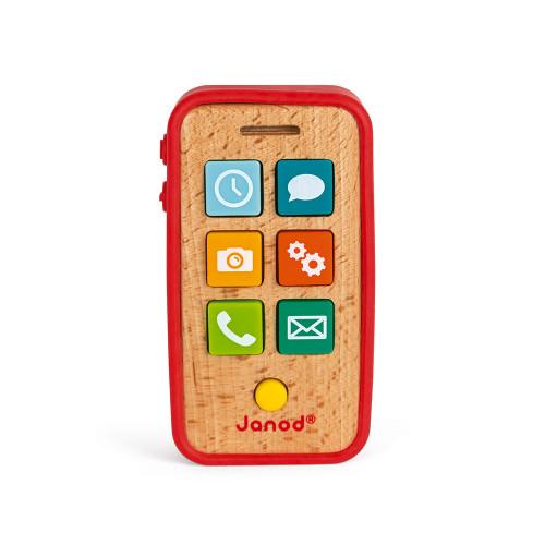 Téléphone Sonore en bois et silicone, éveil sonore musical bébé, imitation, pour enfant à partir de 18 mois JANOD