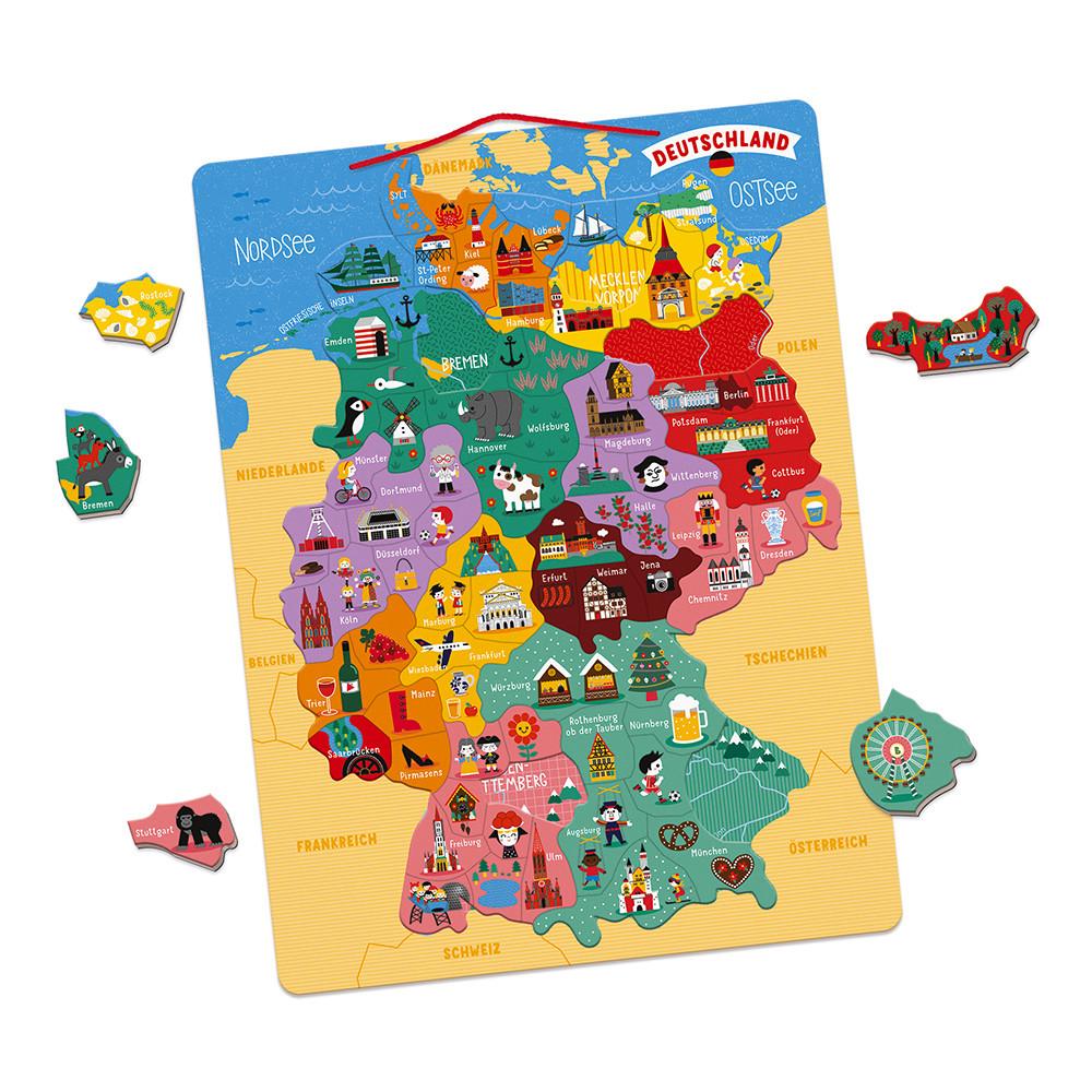 Landkarte Deutsch.Magnetische Landkarte Deutschland Deutsch Holz