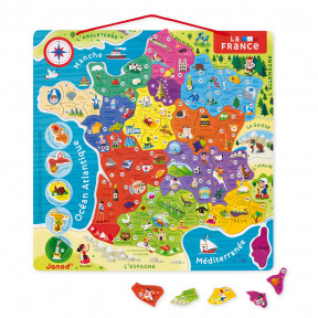 Magnetic France Map 93 pieces - French (wood)