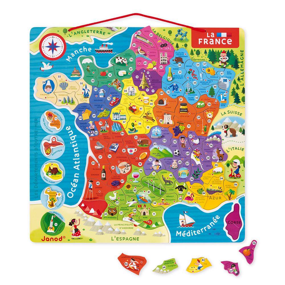 Puzzle France Magnetique 93 Pcs Bois Nouvelles Regions 2016