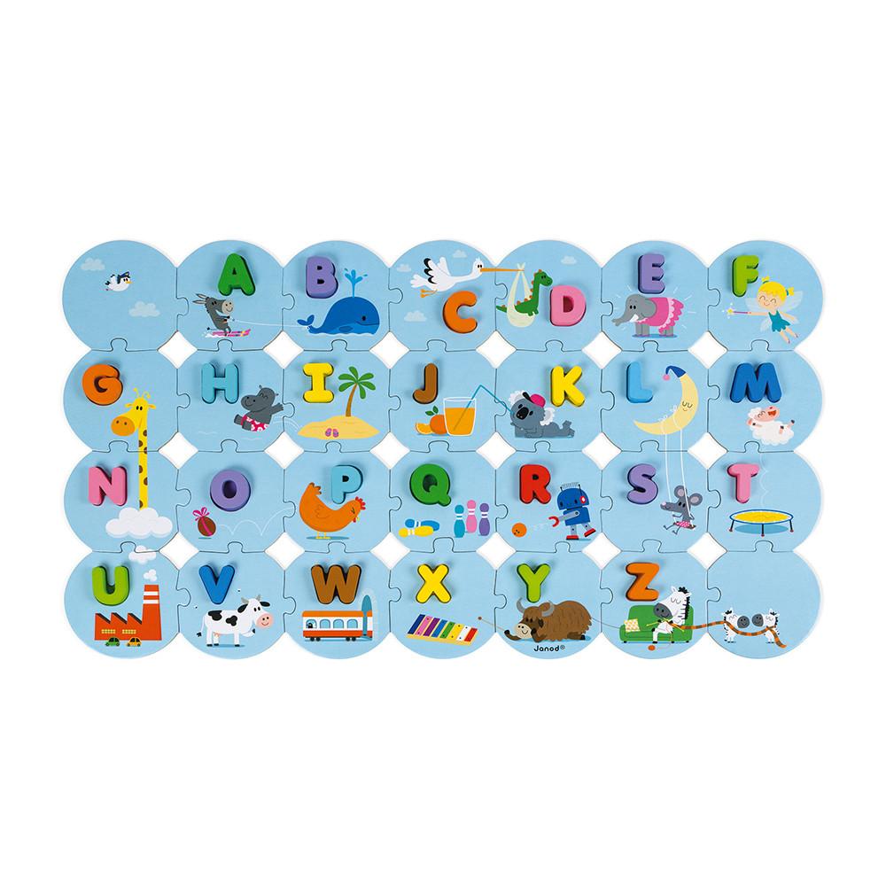 Puzzle J'apprends l'alphabet, Version française (bois et carton)
