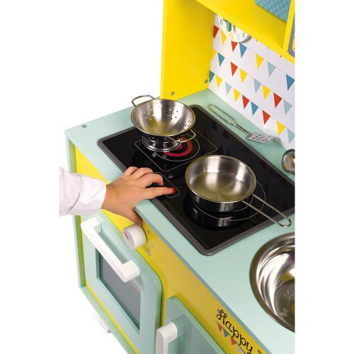 Grande Cuisine Happy Day en bois sonore lumineuse 7 accessoires enfant à partir de 3 ans