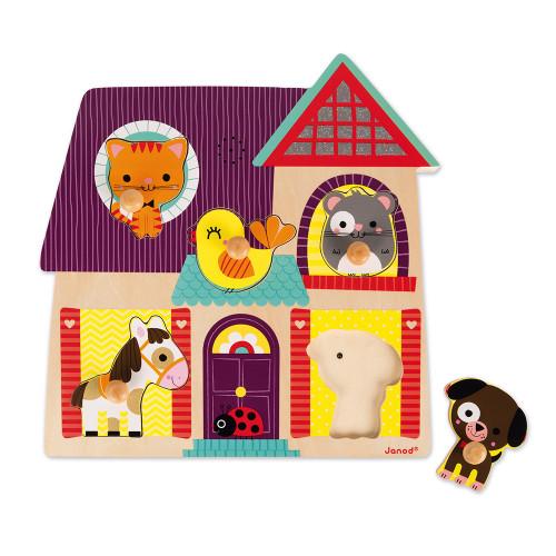 Puzzle musical Compagnons 5 pièces en bois, éveil sonore, animaux, motricité bébé, pour enfant à partir de 18 mois JANOD