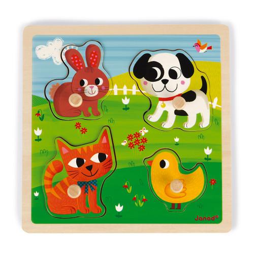 Puzzle tactile Premiers Animaux 4 pcs (bois)