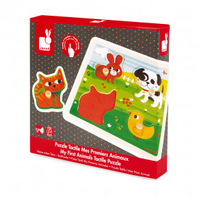 Haptik-Puzzle Meine Ersten Tiere 4 Teile (Holz)