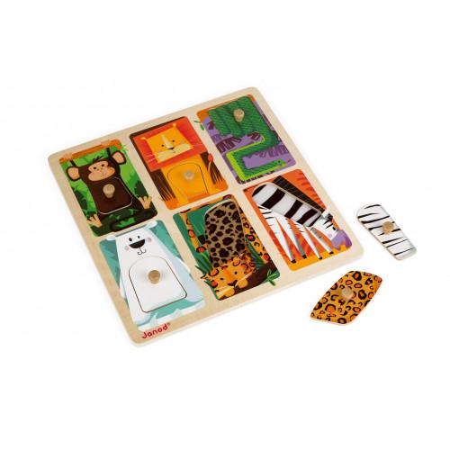 Puzzle tactile Animaux du Zoo 6 pcs (bois)