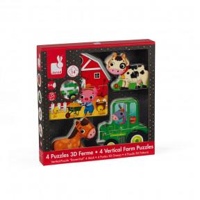 Caja de 4 Puzzles 3D Granja (madera)