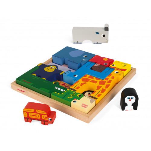 Jeu d'équilibre et puzzle animaux (bois)