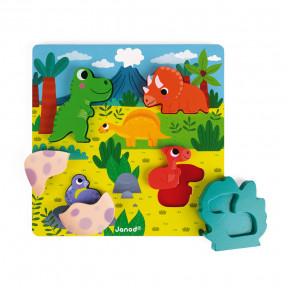 Puzzle Cache-Cache Dino 6 pcs (bois)