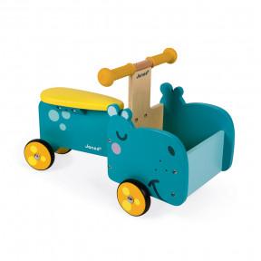 Laufrad Nilpferd Mit Beweglichem Vorderteil (Holz)