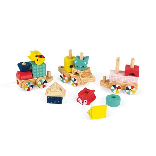 Train Baby Forest en bois, jouet à promener, à tirer, animaux, éveil motricité pour enfant à partir de 12 mois JANOD