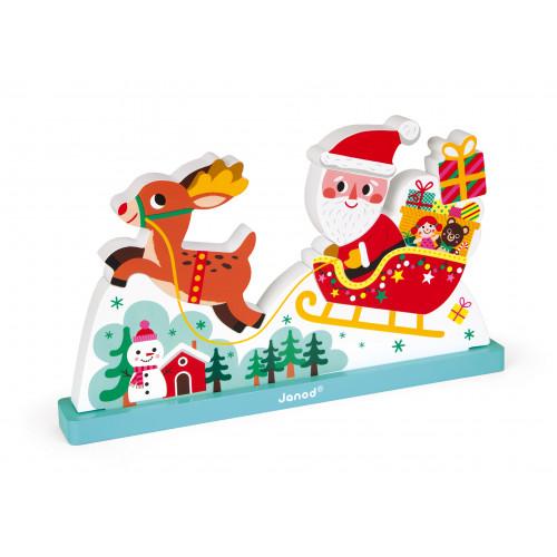 Puzzle Vertical Magnétique Traineau du Père Noël 9 pcs (bois)