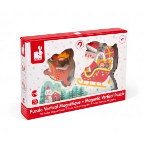 Puzzle Verticale Magnetico la Slitta di Babbo Natale 9 pezzi (legno)