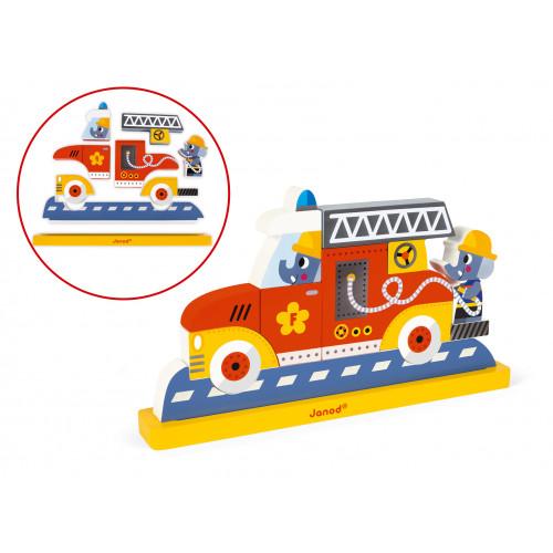 Puzzle Vertical Magnétique Pompiers 9 pcs (bois)