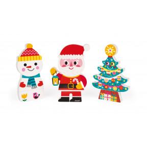 Funny Magnets - Le Père Noël et ses Amis (bois)