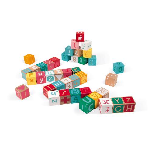 Kubix - 40 cubes Lettres & Chiffres (bois)