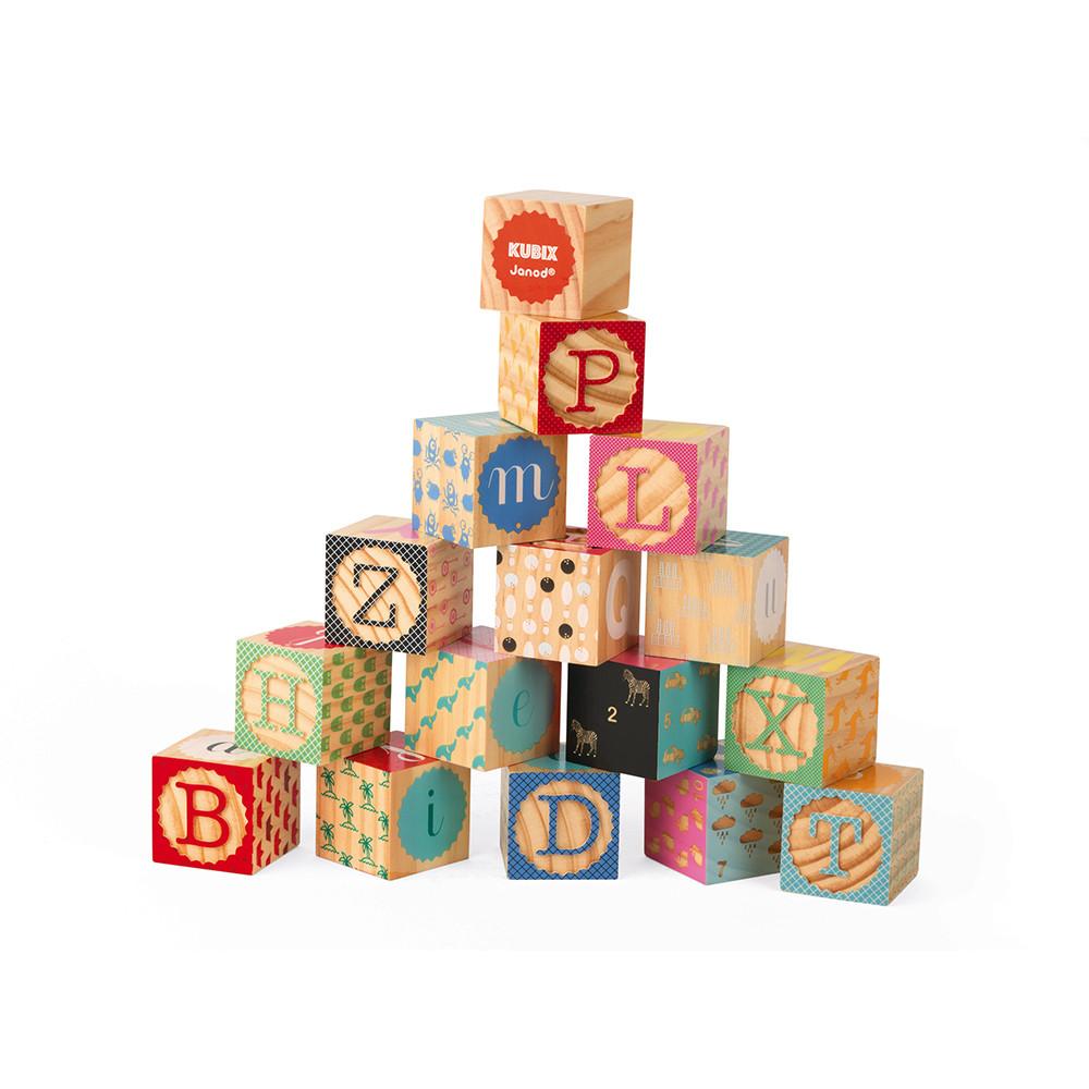 Kubix - 16 cubes alphabet gravés (bois)