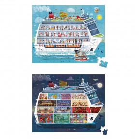 Valisette 2 puzzles bateau de croisière 100 et 200 pcs