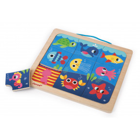 Magneto Puzzle Happy Fish 9 pcs (bois)