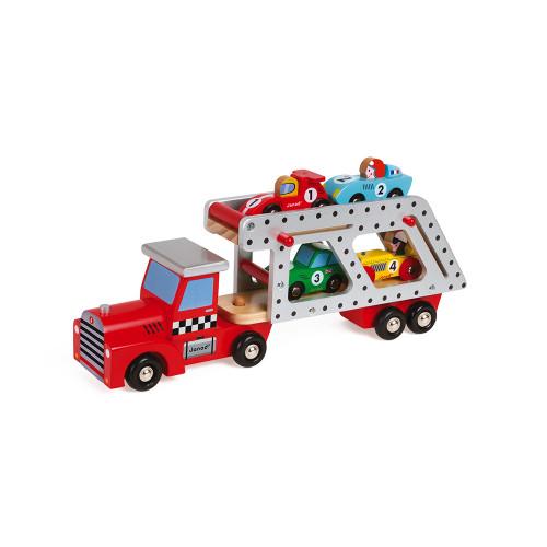 Story - Camion Porte-Voitures en bois, véhicule, figurines, pour enfant à partir de 2 ans JANOD