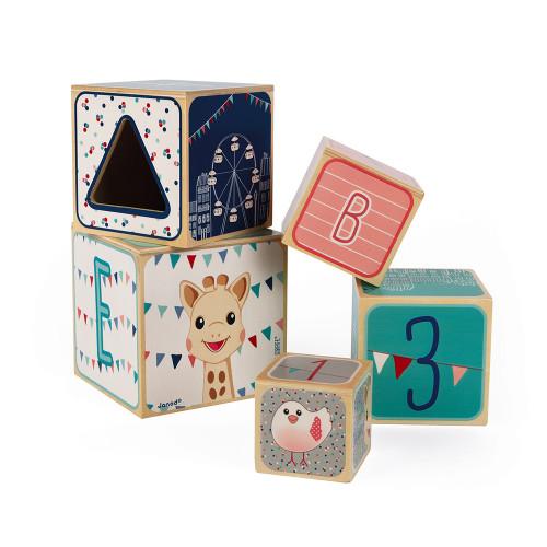 Pyramide 5 Cubes Sophie la girafe (bois)