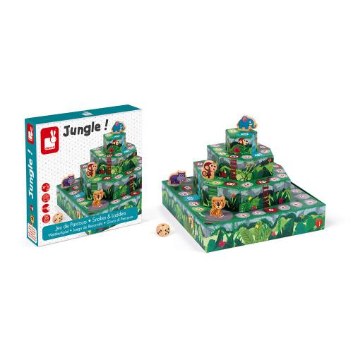 Jeu des serpents et échelles, version jungle! (bois et carton)