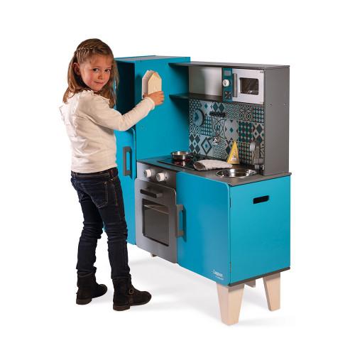 Maxi Cuisine Lagoon en bois sonore lumineuse bleu 15 accessoires enfant à partir de 3 ans
