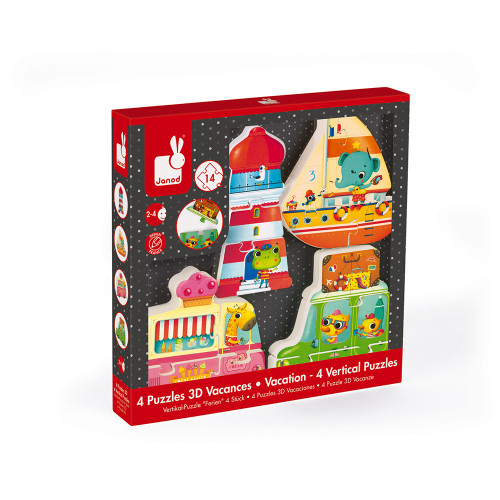 Coffret 4 puzzles 3D vacances (bois)