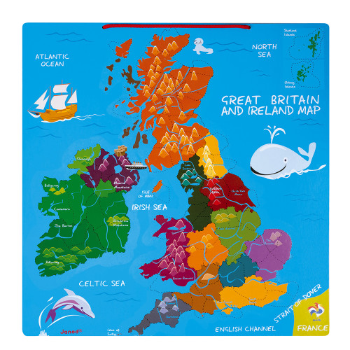 Gran Bretagna Cartina.Mappa Magnetica Di Gran Bretagna E Irlanda 80 Pezzi Inglese Legno