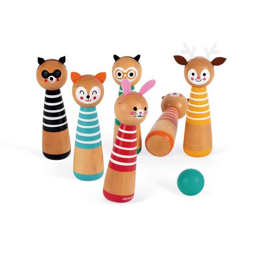 Mes premières quilles Happy Garden en bois, jeu plein air extérieur jardin, animaux, motricité enfant à partir de 3 ans JANOD