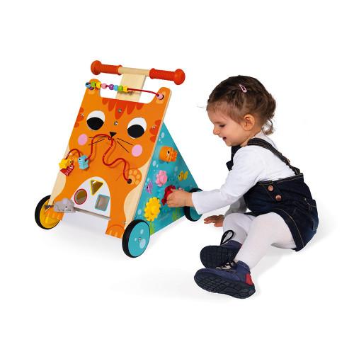 Chariot Multi-Activités Chat en bois éveil marche enfant à partir de 1 an