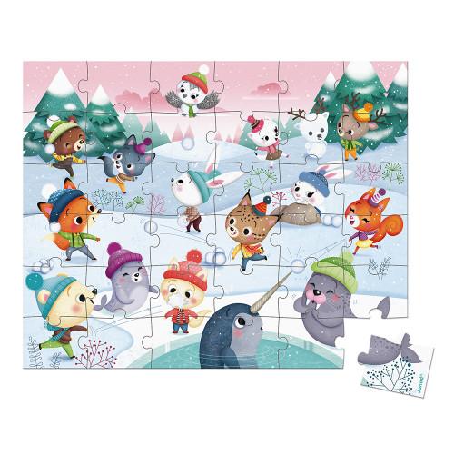 Puzzle Bataille de boule de neige 36 pièces, carton, valisette, pour enfant à partir de 4 ans JANOD