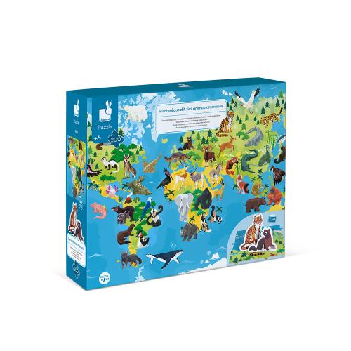 Puzzle éducatif géant Les Animaux Menacés 200 pièces, carton, figurines, pour enfant à partir de 6 ans JANOD