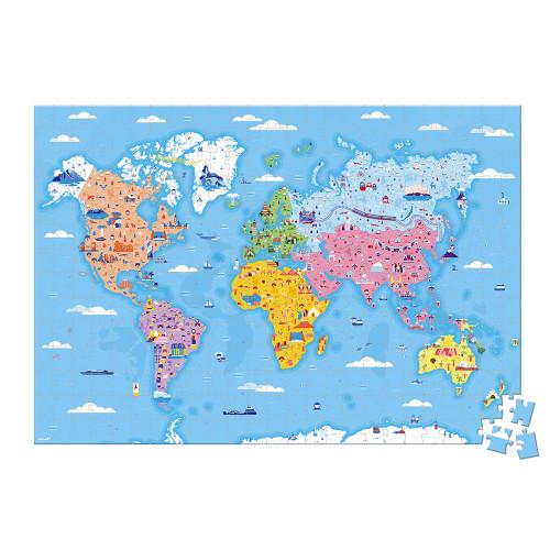 Puzzle éducatif géant Curiosités du Monde 350 pièces, carton, figurines, géographie, pour enfant dès 7 ans JANOD