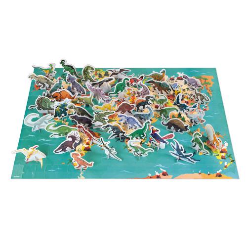 Puzzle éducatif géant Dinosaures 200 pièces, carton, 3D, figurines, pour enfant à partir de 6 ans JANOD