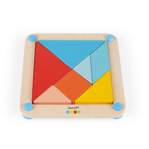 Le Tangram - Essentiel en bois, éducatif, formes, éveil motricité, pour enfant à partir de 2 ans JANOD