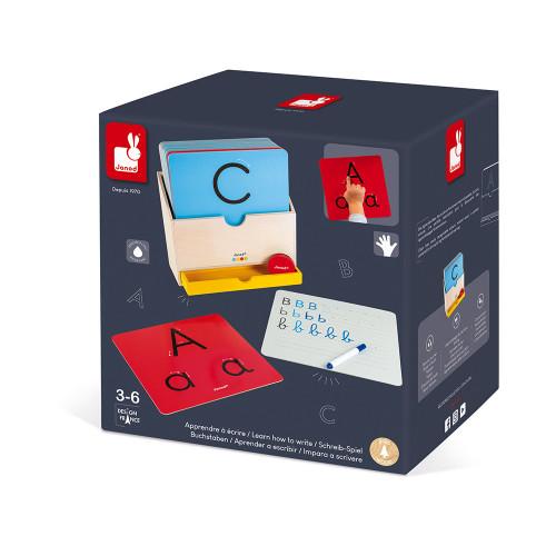 Apprendre à Ecrire - Essentiel en bois, lettres, alphabet, écriture, éducatif, motricité, pour enfant à partir de 3 ans JANOD