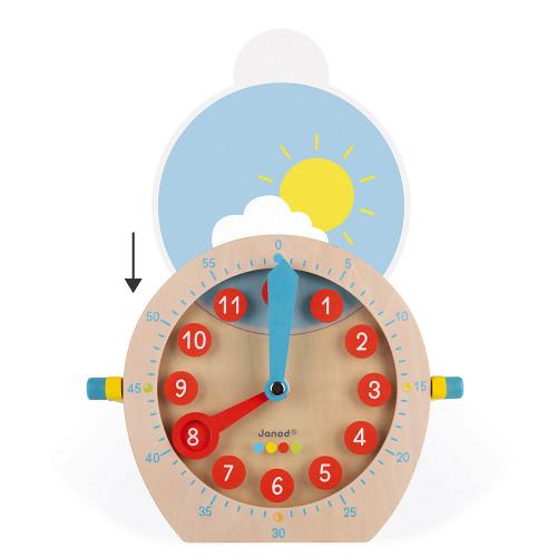 Apprendre l'heure - essentiel en bois, horloge, réveil, éducatif, 21 accessoires, poignée, pour enfant à partir de 5 ans JANOD