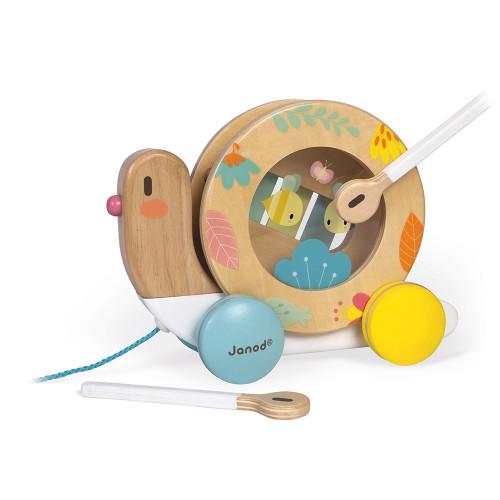 Escargot à Promener Pure en bois, jouet à tirer, éveil musical sonore, motricité, enfant à partir de 12 mois JANOD