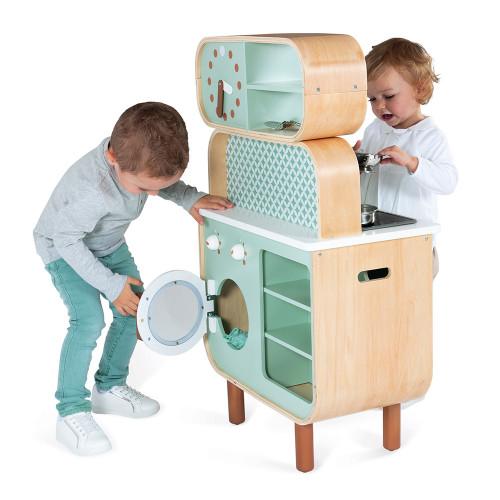 Cuisine double face Cooker Reverso en bois sonore et lumineuse design 8 accessoires pour enfant à partir de 3 ans