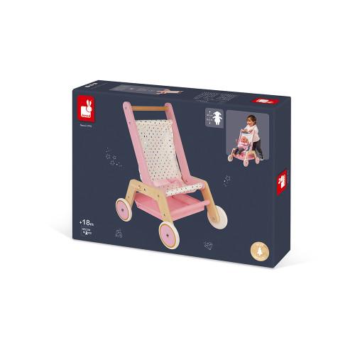 Poussette Candy Chic en bois, pour poupon et poupées, rose et blanc, imitation marche, pour enfant à partir de 18 mois JANOD