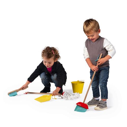 Set de ménage en bois, imitation nettoyage, 5 accessoires, enfant à partir de 3 ans JANOD