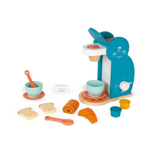 Set du petit déjeuner en bois, dinette, cuisine, imitation, 14 accessoires, machine à café, pour enfant à partir de 3 ans JANOD