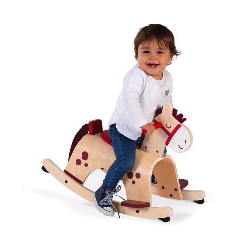Poney à bascule en bois, cheval à bascule, éveil motricité équilibre, pour enfant à partir de 12 mois JANOD