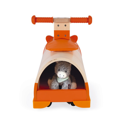 Porteur multidirectionnel Hamster en bois, orange, trotteur, éveil motricité, équilibre bébé, pour enfant dès 12 mois JANOD