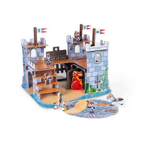 Chateau Fort Story en carton et bois, chevaliers, figurines, imagination, pour enfant à partir de 3 ans JANOD